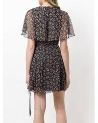 AlexaChung - Black Floral Print Wrap Dress - Lyst