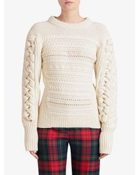 Burberry - Natural Cable Knit Sweater - Lyst