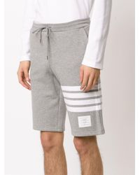 Thom Browne - Gray Striped Detail Track Shorts for Men - Lyst