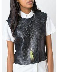 Ann Demeulemeester - Metallic Feather Pendant Necklace - Lyst