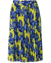 Balenciaga - Blue Poppy Print Sunray Pleated Skirt Yellow - Lyst