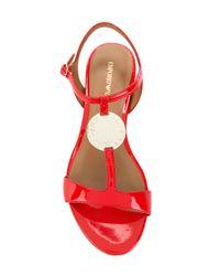Emporio Armani - Red T-bar Sandals - Lyst