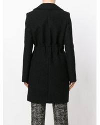 Carven - Black Notched Lapels Belted Coat - Lyst