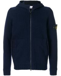 Stone Island - Blue Maglia Zipped-up Hoodie for Men - Lyst