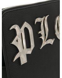 Philipp Plein Black Logo Plaque Clutch Bag for men