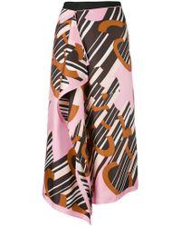 Carven - Black Logo Print Handkerchief Skirt - Lyst