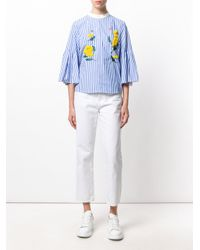 MUVEIL - Blue Embroidery Anemone Top - Lyst