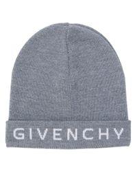 Givenchy - Gray Intarsia Logo Beanie - Lyst