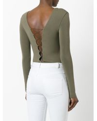 T By Alexander Wang - Green Lace-front Long Sleeve Bodysuit - Lyst