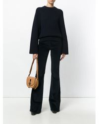 Nina Ricci Blue High-waisted Flared Trousers