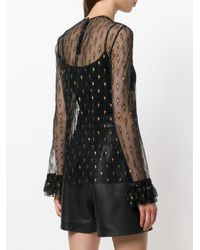 Philosophy Di Lorenzo Serafini - Black Sheer Embroidered Top - Lyst