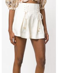 Zimmermann White High-waisted Lace-up Shorts