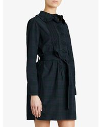 Burberry - Blue Pintuck Tartan Tunic Dress - Lyst