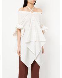 Palmer//Harding - White Checked Off Shoulder Asymmetric Shirt - Lyst