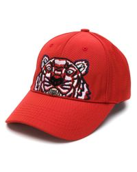 KENZO - Red Tiger Patch Cap - Lyst