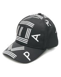 KENZO - Black Logo Print Baseball Cap - Lyst