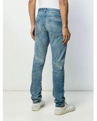 John Elliott Blue Distressed Slim Fit Jeans for men