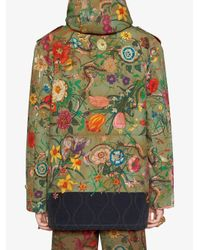 Gucci - Green New Flora Snake Print Quilted Parka for Men - Lyst