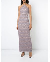Aidan Mattox - Purple Embroidered Maxi Dress - Lyst