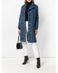 Ermanno Scervino - Blue Leopard Print Coat - Lyst