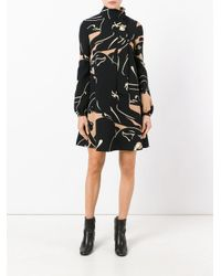 Valentino - Black Printed Funnel Neck Mini Dress - Lyst