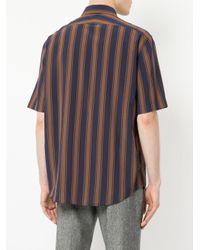 Cerruti 1881 - Brown Short Sleeve Striped Shirt for Men - Lyst