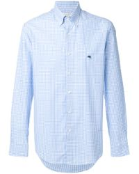 Etro | Blue Checked Shirt for Men | Lyst