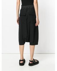 Rick Owens - Black Dropped Crotch Shorts - Lyst