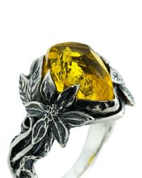Lyly Erlandsson Yellow Aria Silver Ring for men
