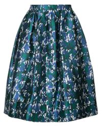 Oscar de la Renta - Blue Printed Shiny Skirt - Lyst