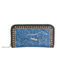 Etro - Blue Cheetah Print Continental Wallet - Lyst