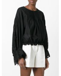 Chloé - Black Pineapple Broderie Anglaise Top - Lyst