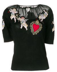 Dolce & Gabbana - Black Sacred Heart Cherub Top - Lyst
