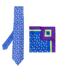 Etro - Blue Elephant Print Tie And Pocket Square for Men - Lyst