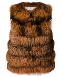 Yves Salomon - Brown Fitted Fur Gilet Jacket - Lyst