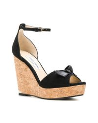 Jimmy Choo - Black Knotted Wedge Sandals - Lyst