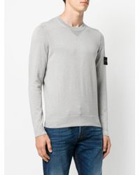 Stone Island - Gray Logo Patch Jumper for Men - Lyst