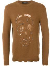 Alexander McQueen - Brown Pierced Skull Jumper for Men - Lyst