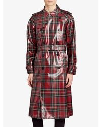 Burberry - Red Patent Tartan Trench Coat for Men - Lyst