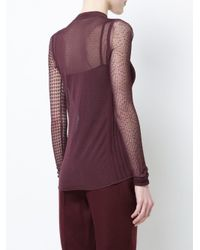 Jason Wu - Red Lace And Net Detailed Top - Lyst