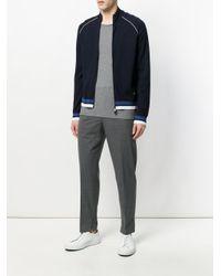 Emporio Armani - Blue Contrast-trim Zip-up Cardigan for Men - Lyst