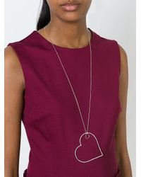 Seeme - Metallic Big And Small Heart Necklace - Lyst