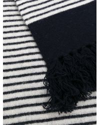 Mp Massimo Piombo - Blue Striped Fringed Scarf - Lyst