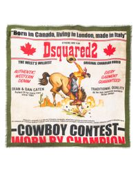 DSquared² Multicolor Cowboy Theme Printed Scarf for men