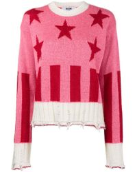 MSGM - Pink Stars And Stripes Sweater - Lyst