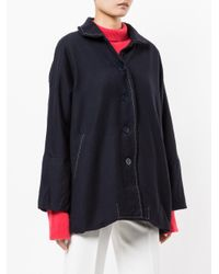 Casey Casey Blue Loose Fit Jacket With Contrast Stitching