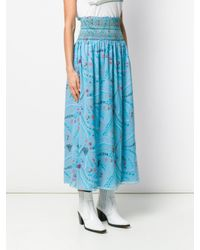 Zadig & Voltaire Blue Jess Long Print Skirt