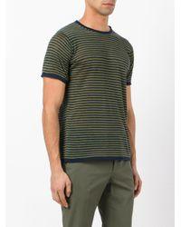 Zanone - Green Striped Knit T-shirt for Men - Lyst