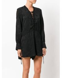 IRO | Black Lace Up Chest Dress | Lyst