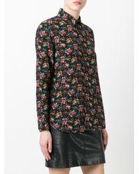 Saint Laurent - Black Paris Collar Floral Print Shirt - Lyst